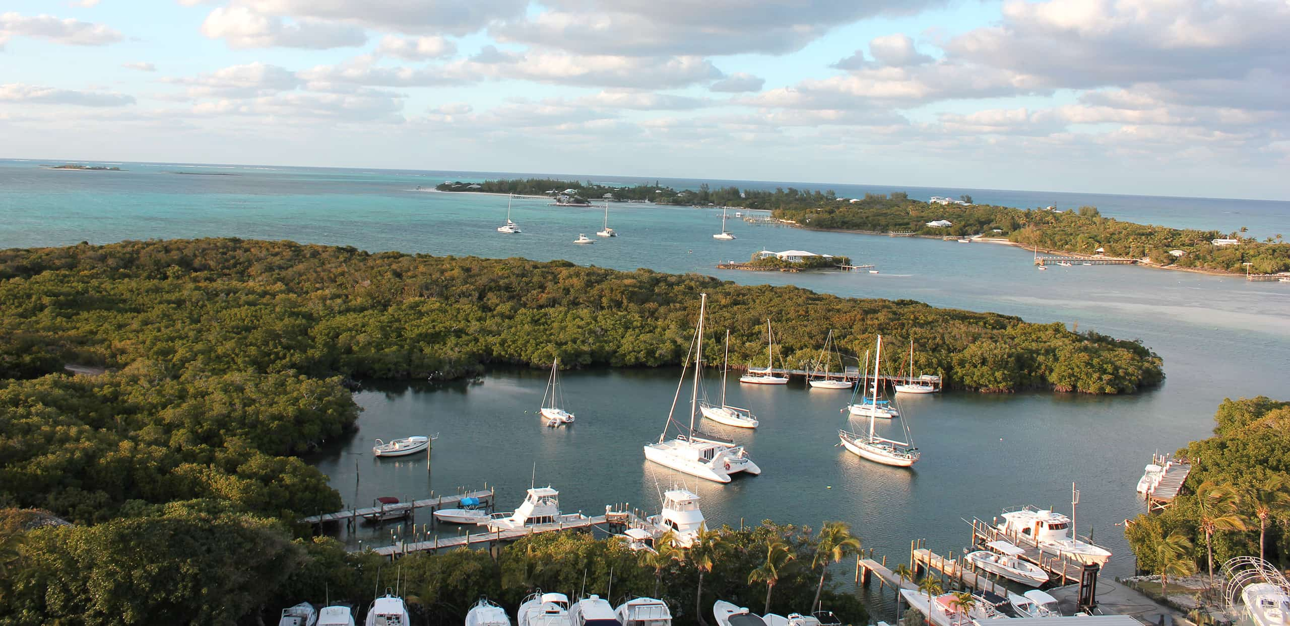 Boats docked at various piers in The Bahamas