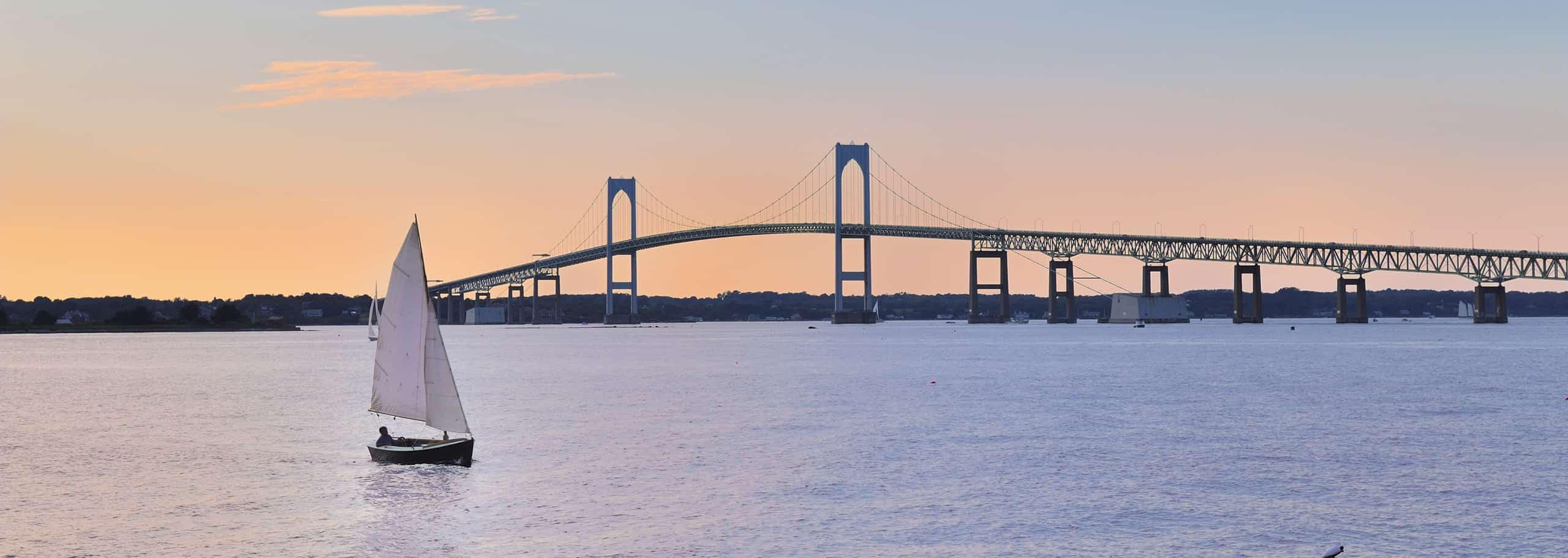 A bridge on the shoreline of Newport, RI