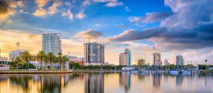 The shoreline of St. Petersburg, Florida at dusk