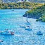 Yachts anchored offshore of the U.S. Virgin Islands