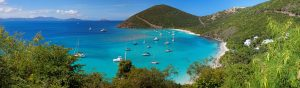 View of yachts in a harbor in the British Virgin Islands